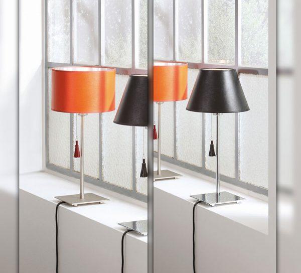 buero-lampe-glas-tischlampe-leuchter-schwarz-orange
