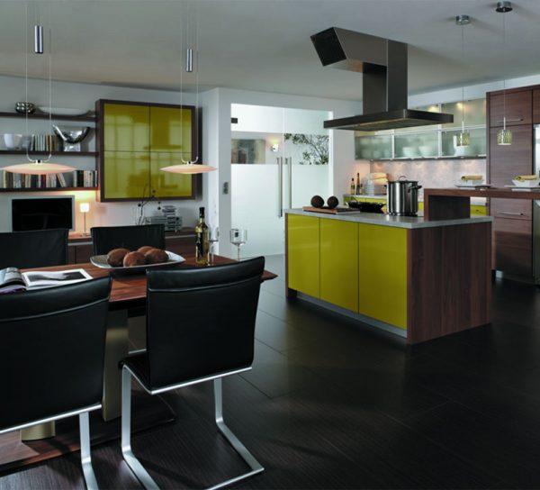 ganzglas-doppeltuer-klar-edelstahlgriff-automatisch-wohnbereich-kueche