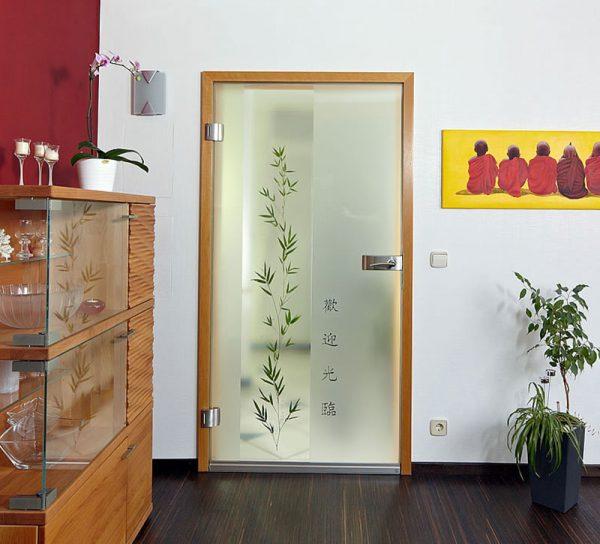 kuechentuer-glas-modern-muster-bambus-asia-druck-milchglas