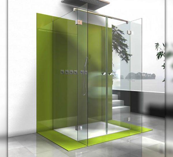 rueckwand-glas-farbe-gruen-dusche-bad